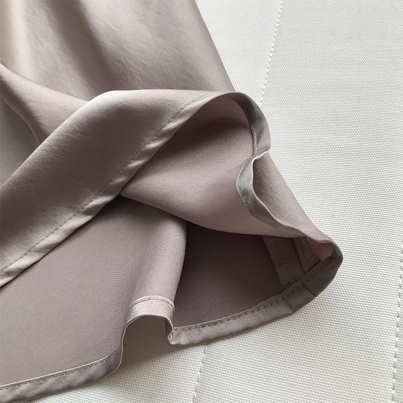 19 Spring Simmer Women High Waist Satin Skirt Metallic Color Long Skirt Shiny Silk Imitation Midi Skirt 23