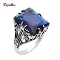 Szjinao Alta Qualidade Handmade Marca de Joalharia de Moda Azul Anel de Cristal de Prata Esterlina 925 Anéis Antigos para As Mulheres