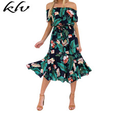 Women Sexy Off Shoulder Short Sleeve Flowy Midi Long Dress Boho Tropical Floral Print Lace Up High Waist Pleated Beach Sundress off shoulder pleated flowy top