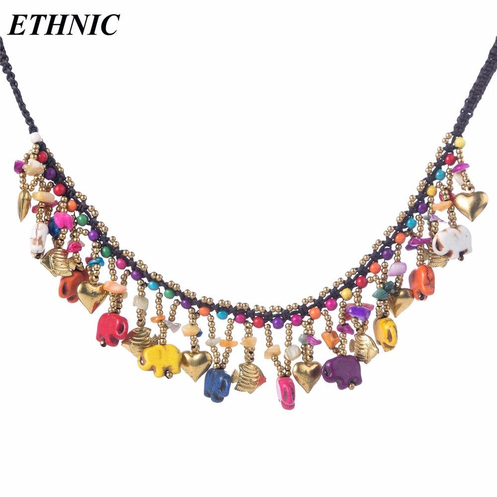 2f80d3c1824f 2018 nuevo collar de piedra de elefante hecho a mano para mujer collar de  declaración Bohemia Cadena de cuentas de color dorado