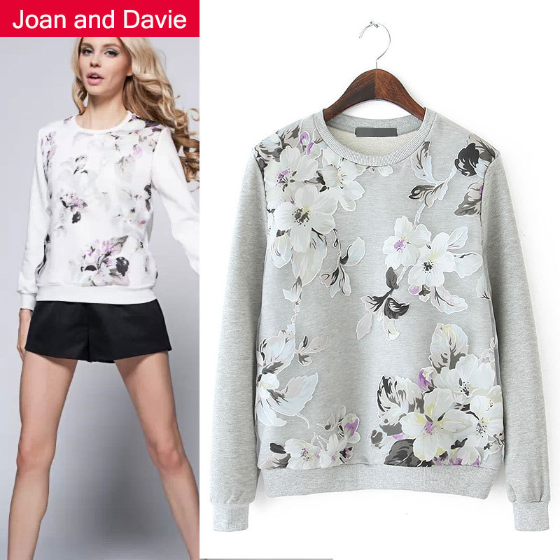 2015 New fashion women's clothing spring long sleeve yarm pullovers elegant floral hoodies white / gray Sweatshirts - Joan and Davie store