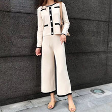 39b6b2794ecb3 2019 otoño elegante Color de dos piezas de las mujeres solo Breasted  chaqueta Tops + pierna ancha pantalón conjunto Casual conju.