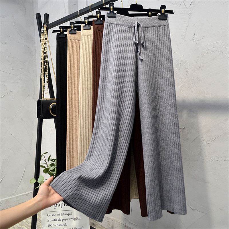 Women Long Trousers Autumn Winter Elastic High Waist Thick Knitted   Pants   Female Sweater   Wide     Leg     Pants   Casual Loose   Pants   AB1195