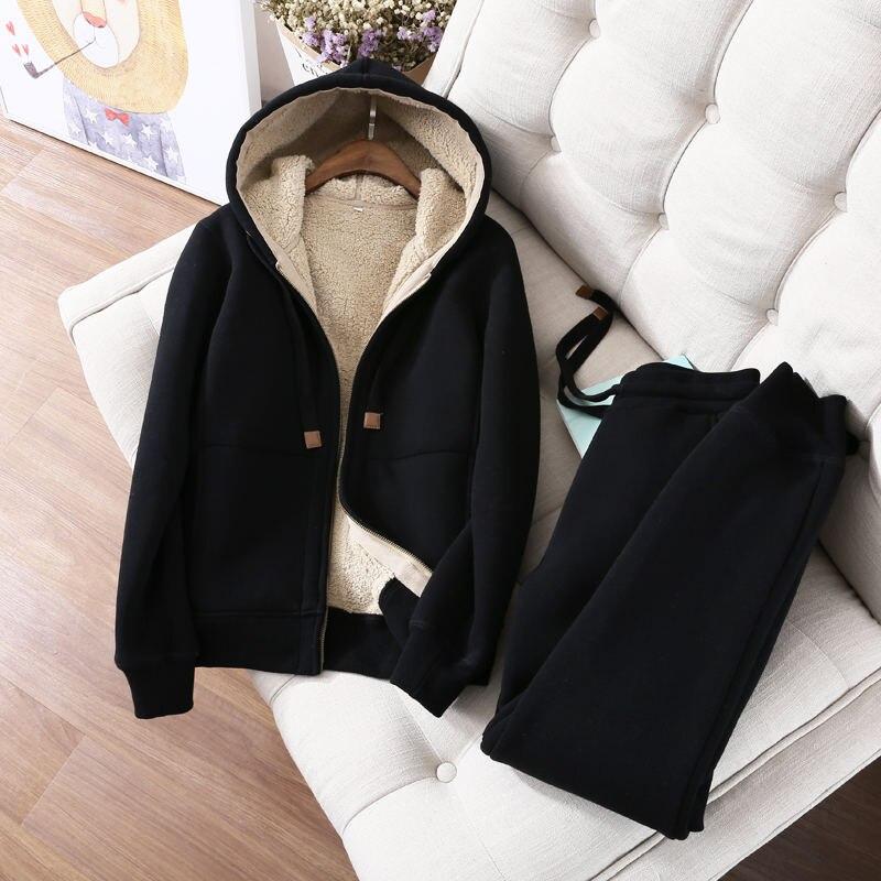 Automne hiver sweat femmes Plus velours surdimensionné Hoodies veste à manches longues sweat Sportswear chaud femmes Hoodies Z64 - 2