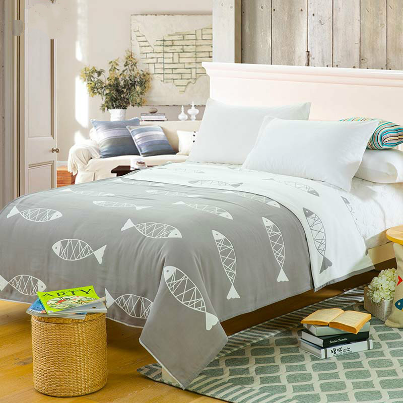 2017 Fashion Cotton Blanket on the bed Korean Fish Zebra Sofa Travel Soft Bedspread Bedding Quilt
