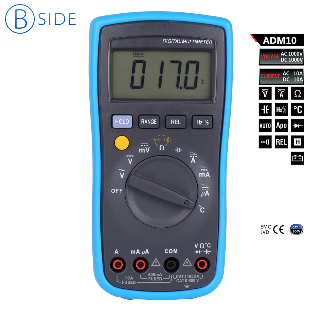 Bside ADM10 Digital Multimeter DMM DC/AC Voltage Current Temperature Relative Measurement Capacitance Meter Tester Multimetro bside adm04 lcd digital multimeter mini pocket 2000 counts dmm dc ac voltage current meter diode tester auto ranging multimetro