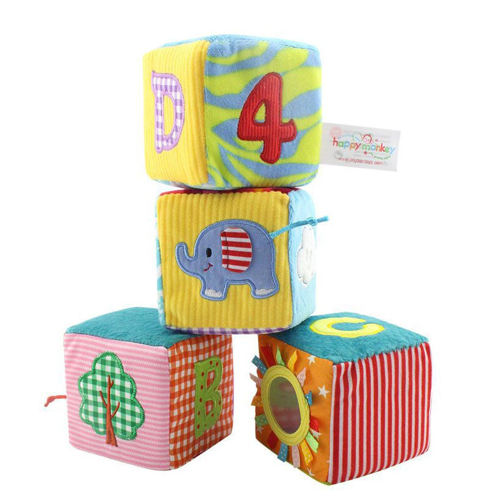 Cloth Building Blocks Infant Baby Cloth Doll Soft Rattle early Educational Baby Toy Soft Plush Set Intelligent Cube Toddler Toys