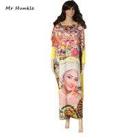 Mr Hunkle Nuovo Abiti Casual Stampa Manica Lunga Modello di Bellezza Viso Delle Donne Del Leopardo Maxi Dress Abiti Stile Africano Vestito Allentato