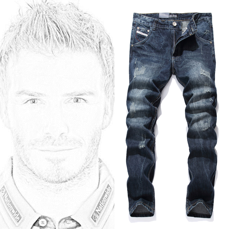 High Quality Famous Brand Designer Dark Blue Jeans Pants Regular Fit Denim Men`s Scratch Jeans Uomo Pants G988