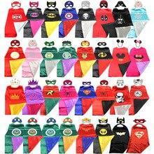 Superhero capa (1 capa + 1) máscara de batman super hero costume para crianças trajes de festa do dia das bruxas para crianças superman spiderman