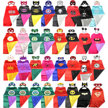 Superhero cape (1CAPE+1MASK)batman super Hero Costume for Children Halloween Party Costumes for Kids superman spiderman(China)