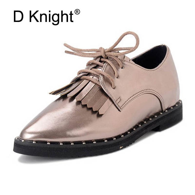 Tassels Rivet Decoration Women Platform Flats Pointed Toe Thick Heel Oxfords Neutral Style Lace Up Woman's Casual Brogue Shoes qmn women crystal embellished natural suede brogue shoes women square toe platform oxfords shoes woman genuine leather flats