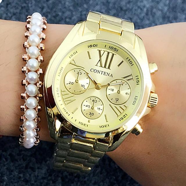 808a8cfcb24 2018 Mulheres Relógios de Genebra Estilo Hot Famosa Marca de Moda Relógios  Para Senhoras de Luxo de Ouro Relógio de Quartzo relógios de Pulso das ...