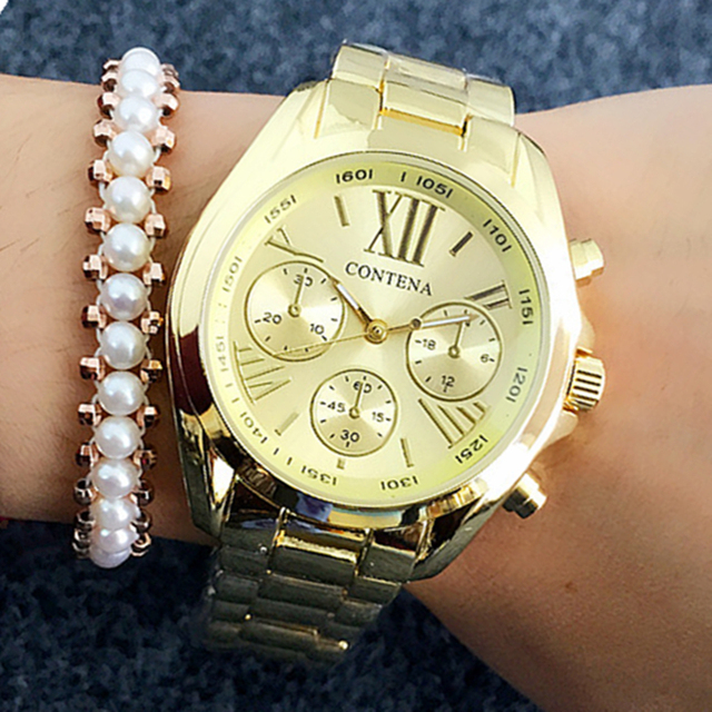 2018 Women Watches Geneva Hot Style Famous Brand Fashion Gold Watches For Ladies