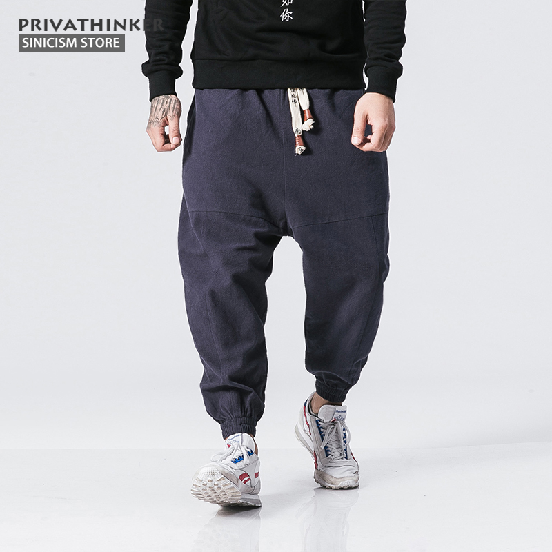 Sinicism Store  Casual Cotton Linen Trousers Male Thick Fleece Harem Pants Men Women Winter Warm Jogger Pants Size Plus