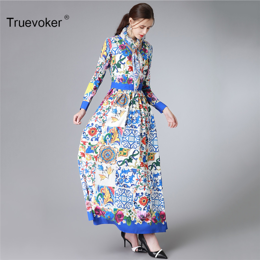 Truevoker Spring Europe Designer Maxi Dress Women s High Quality Charm Long  Sleeve Blue Abstract Printed With Scarf Long Dress-in Dresses from Women s  ... dc1c9e1488bb