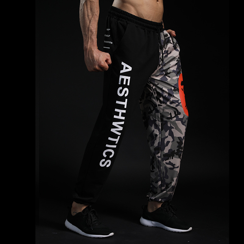 Men's Letter  Pants Jogger Color Camouflage  Men's  Beam Mouth Bobuilding  Fashion Letter Print 2018 New High Quality