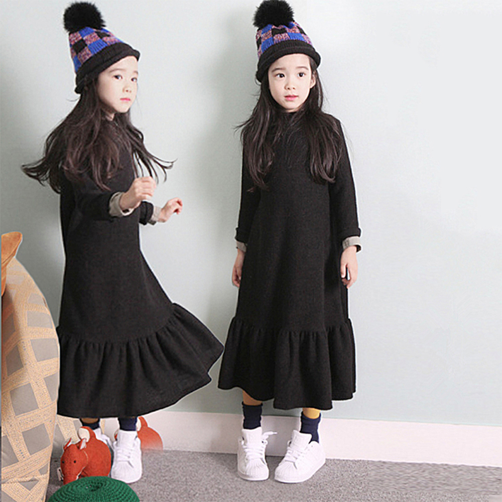 2017 Teen Girls Long Party Dress Black Color Korean Japan Style Super Long Design for Children Age 5678910 11 12 13 14 Years Old