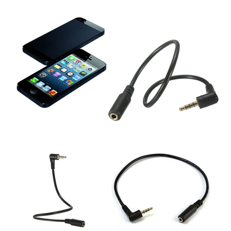 NEW DC 3.5mm Male to 3 Pole Female AUX DC Stereo Audio 4 Pole 90 Degree Angled Extension Cable For Phone Laptops MP3 Tablet PC