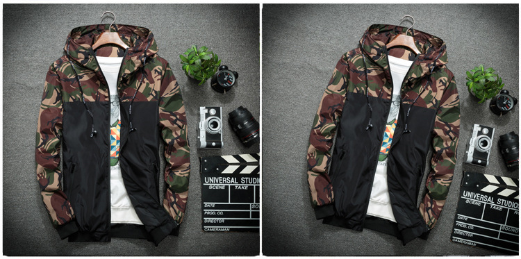 NaranjaSabor Spring Autumn Men's Jackets Camouflage Military Hooded Coats Casual Zipper Male Windbreaker Men Brand Clothing N434