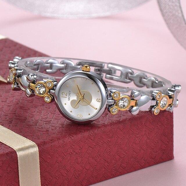 Donna orologi Bracciale in oro rosa Disney donne di marca di orologi in acciaio inox Mickey Mouse del diamante di lusso 30 m impermeabile orologio da polso