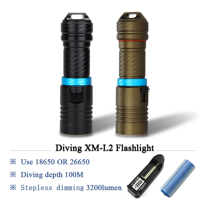 xm l2 scuba diving flashlight led lantern 100M underwater worklight lampe torche waterproof torch flashlight 26650 or 18650