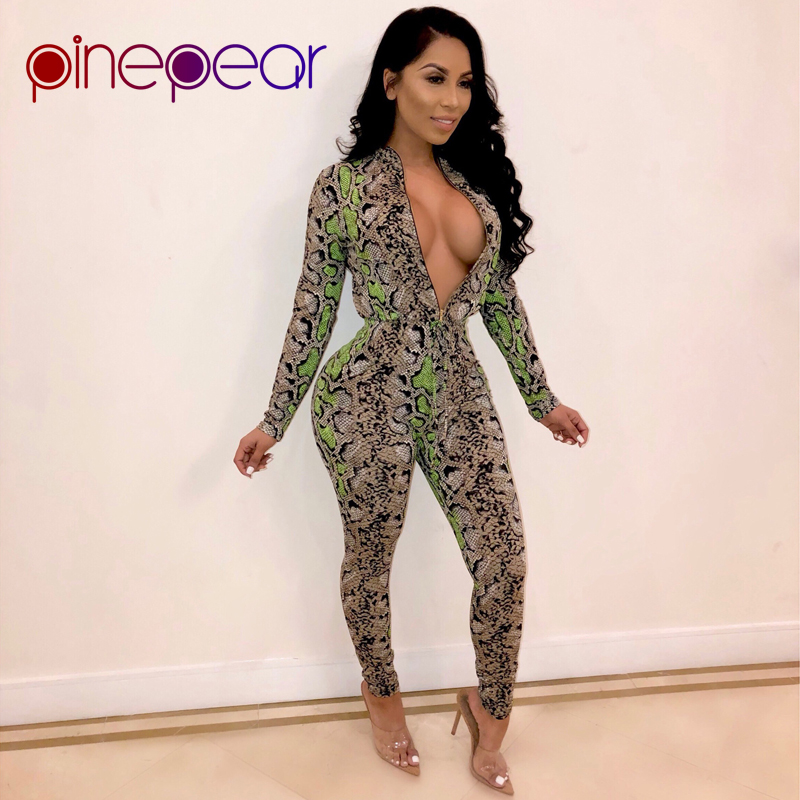 78796d59f604 PinePear Snake Skin Print Jumpsuit 2019 Winter Long Sleeve Front Zipper Tie  Waist Romper Ladies One Piece Overall Dropshipping
