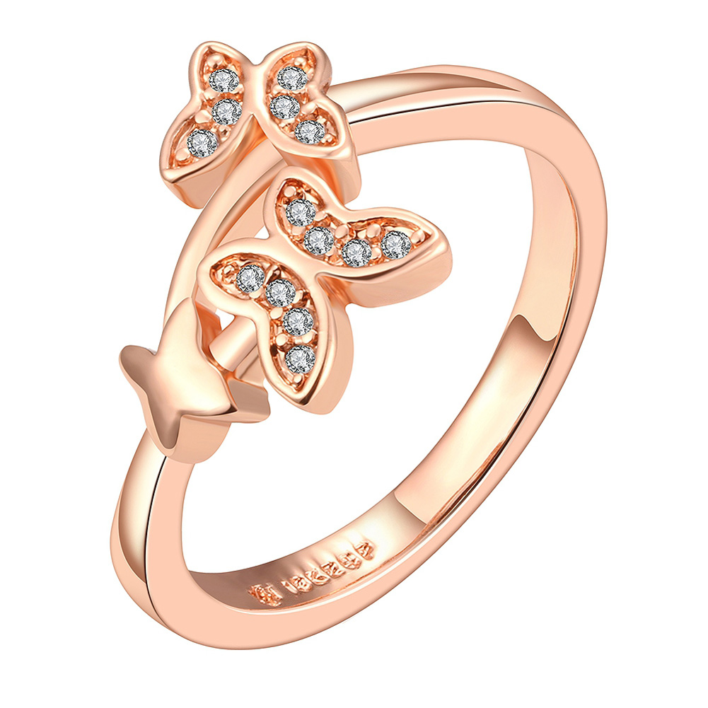 Noble Style Rings Dual Butterfly Rose Gold Zircon Ring Fashion Women Wedding Accessories Lovers Gift