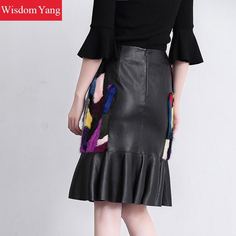 Dames Black Réel Moulante De Partie Casual Vison Fourrure Skirt Jupes Cuir Taille Haute Femmes Noir Jupe Sexy Sirène Midi Véritable En 2018 UFqRfRdwO