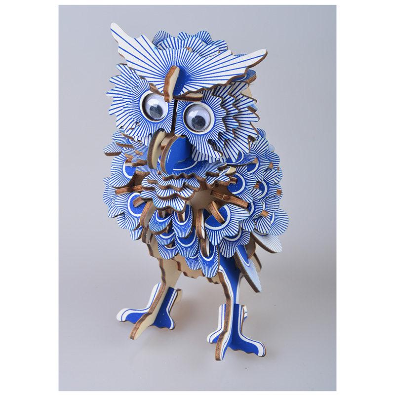 3D Wooden Owl Puzzles Jigsaw DIY Hobbies Children Birthday Gift Toy Woodcraft Kids Kit Toy Model DIY Construction Toy Puzzle
