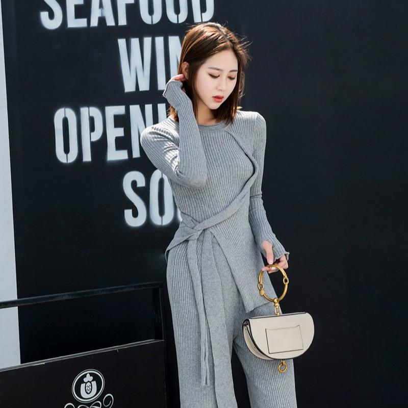 Riokeke Elegant Knitted Women's Suit Female Irregular Slit Ribbon Slim Sweater Top Wide Leg Pants Two Piece Set Women Suits New