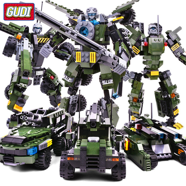 GUDI Legoings Car Figure Transform Robot 3in1 Vehicle Classic War Chariot Building Blocks Robot Bricks Toys For Children
