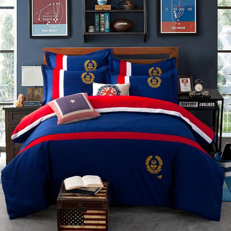 Gestickte Englisch Abzeichen Bettwäsche Set Marke 4 Stücke Bettbezug
