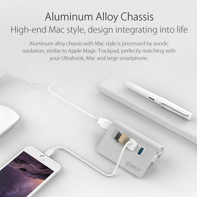 High Speed  Aluminum 4 Port USB 3.0 HUB – Silver