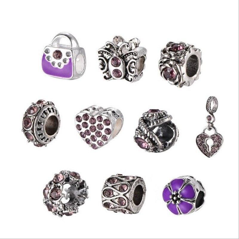10pcs/set Charm Beads Tibetan Silver European Spacer Beads Charms Fit Original Pandora Charm Bracelet Women DIY Jewelry Z817