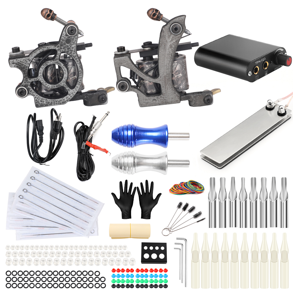 Solong Tattoo Complete 2 Coil Tattoo Machine Kit Power Supply Foot Pedal Switch Needles Set TK201-24 stigma tattoo complete 2 coil tattoo machine kit power supply foot pedal switch needles set tk201 6