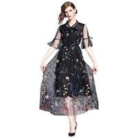 summer embroidery mesh dress woman elegant female party dress floral black woman long dress slim a line dress woman