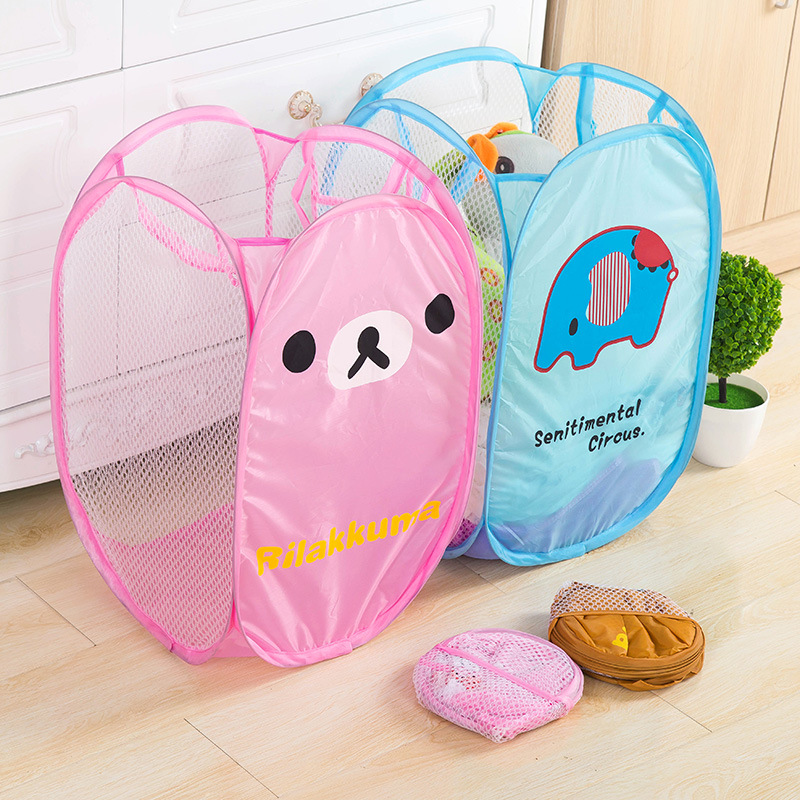 Cartoon Foldable Storage Basket for Clothes Mesh Washing Dirty Laundry Portable Toys Container Home Sundries Organizer Pouch