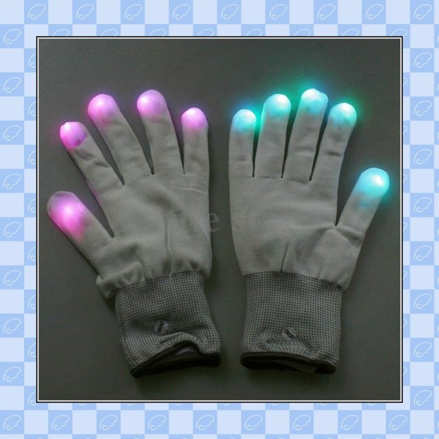 One pair of 7 Mode LED Gloves Rave Light Finger Lighting Glow Flashing Gloves Funny Gift, freeshipping&wholesale&retail