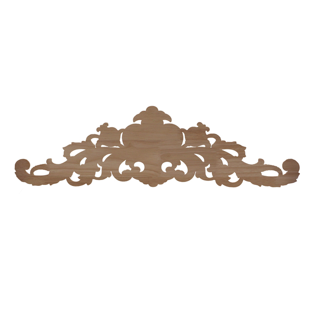 RUNBAZEF European Style Real Wood Long Floral Carving Applique Home Decoration Accessories Door Cabinet Furniture Figurines 6