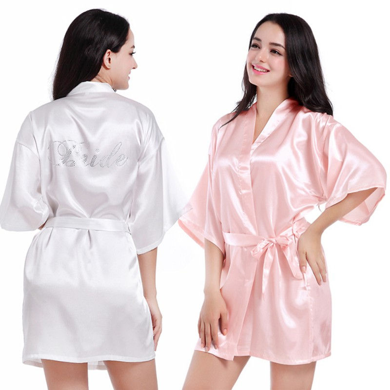 4bec1413c6 Satin Faux Silk Wedding Bride Bridesmaid Robes