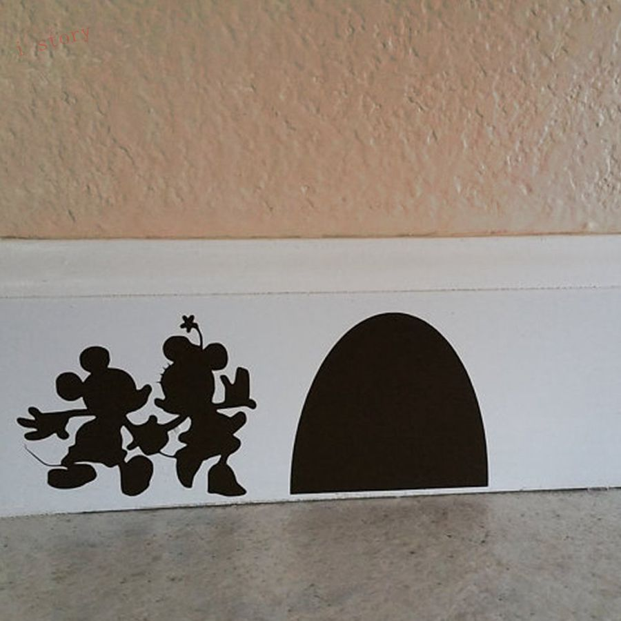 Buy new cartoon sticker mouse hole house for Stickers de pared