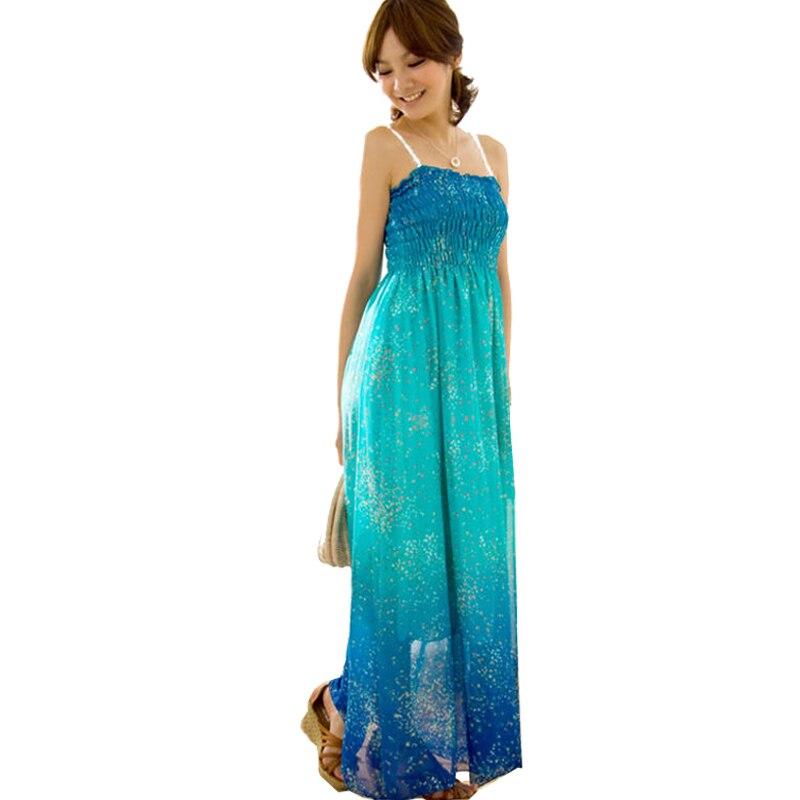 2016 Sexy Women Floral Gradient Color Boho Long Maxi Evening Party Dress Beach Dresses Chiffon Spaghetti Strap  Dress Red Blue