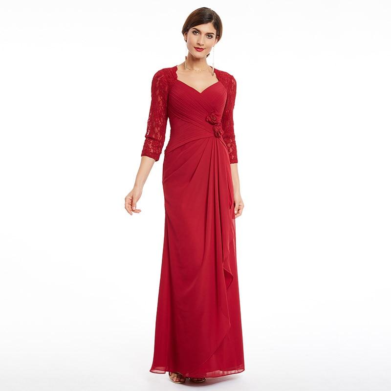 Tanpell tre fjärdärmsmycken kvällsklänning v nacke burgundy - Särskilda tillfällen klänningar - Foto 6