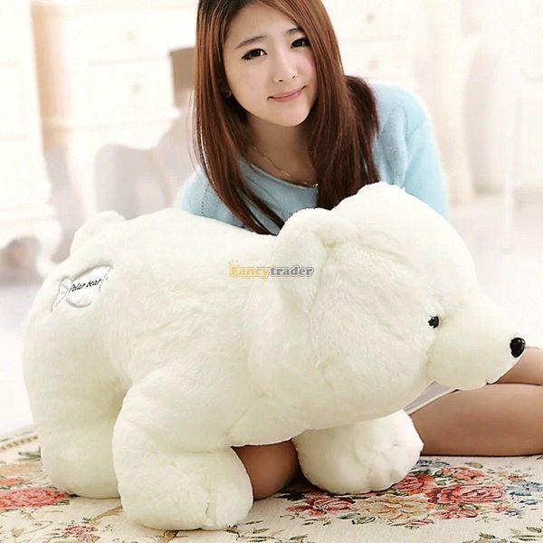 Fancytrader 28'' / 70cm Super Cute Giant Stuffed Soft Plush Polar Bear,  great gift toy, baby toy, Free Shipping FT50272 fancytrader real pictures 39 100cm giant stuffed cute soft plush monkey nice baby gift free shipping ft50572