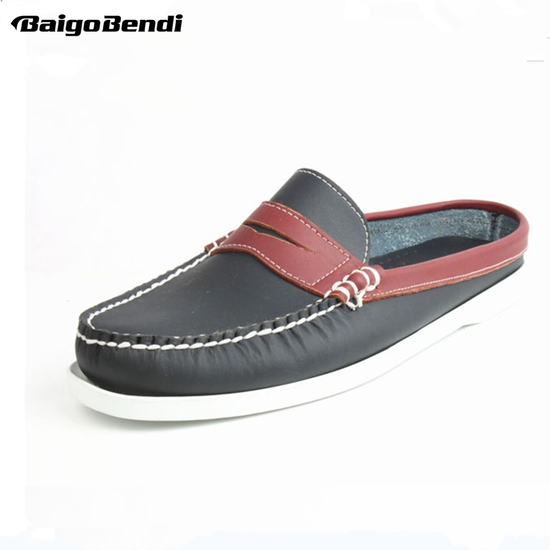 Summer US6-11 EUR Size 45 REAL Leather Casual SLIP-ON Men Penny Loafer Leather Mules Open Back Slippers Casual Beach Shoes