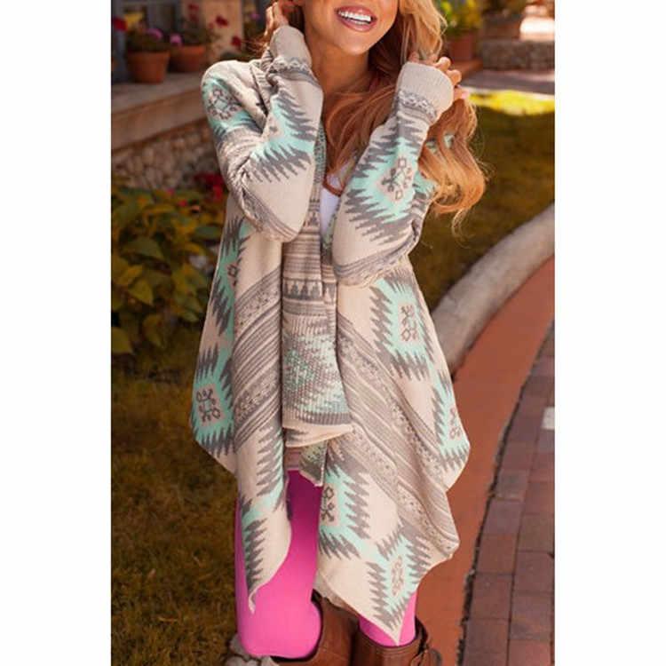 Casaco feminino 2017 Cardigan stampa irregolare knit cappotto di autunno moda sexy signora Sottile delle donne cappotto