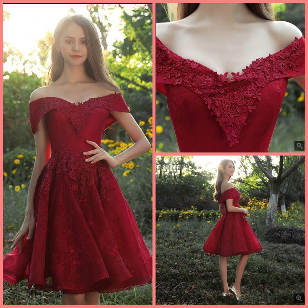 Vestido De Festa wine lace short a line petite girls   prom     dress   informal off the shoulder v neck corset cheap   prom   gowns 2019