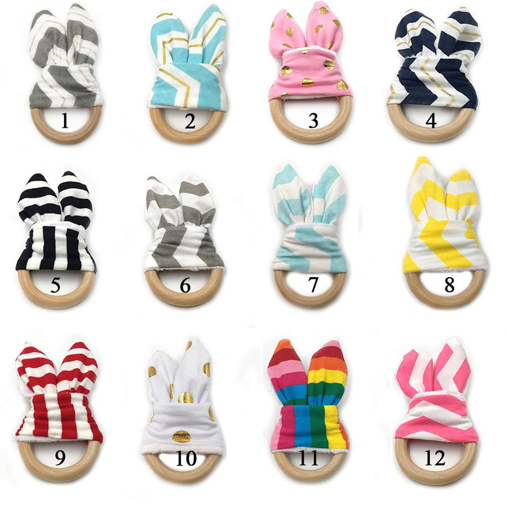 Cute Cartoon Rabbit Ear Shape Teether Wood Teething Ring for Baby Infant in Baby Teethers from Mother Kids