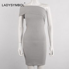 Off Shoulder Casual Knitted Shemale Dress